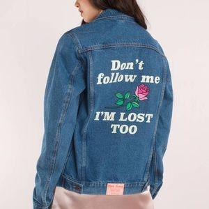 Nasty Gal Jackets & Coats - Yeah Bunny Don't Follow Me Jean Jacket